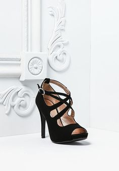 Black Suedette Cross Strap Heels