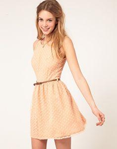 Enlarge Love Spot Mesh Belted Skater Dress