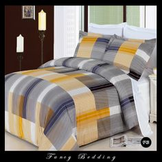 Gold Grey Plaid 100 percent Egyptian Cotton Reversible Duvet Comforter Cover and Shams Set - Unique masculine bedding set. Mens Bedding Sets, Bed Comforter Sets, Comforter Cover, Duvet Cover Sets, Comforters, Egyptian Cotton Duvet Cover, Grey Bedding, Cotton Bedding, Bedrooms