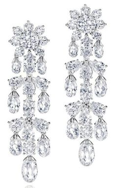Harry Winston  Shinde Briolette Earrings.     48 briolette, round, pear-shaped, and marquise diamonds, 16.18 carats; platinum setting.