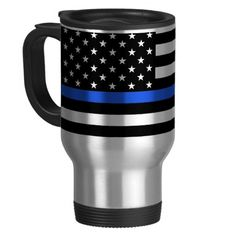 Support the Police Thin Blue Line American Flag 15 Oz Stainless Steel Travel Mug