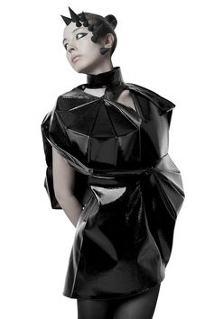 Geometric Fashion - patent leather dress using 2D shapes to create a 3D structure; sculptural fashion // Lisa Shahno