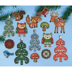 "Woodland Friends Ornaments Plastic Canvas Kit-1"" To 4"" 14 Count Set Of 15"