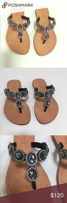 Black stone jeweled sandals Jeweled thong sandals with black stone detailing. Brand new in box Mystique  Shoes Sandals