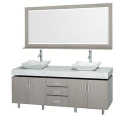 "Malibu 72"" Double Bathroom Vanity Set by Wyndham Collection - Gray Oak Finish with White Carrera Marble Counter and Handles"