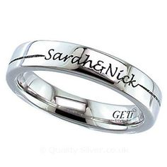 Geti Flat Titanium Ring With Your Linked Names
