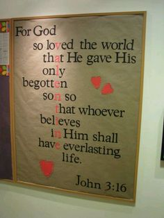 I LOVE this. Takes me back to all the weekends I spent helping my mom put up sunday school boards! Great idea for a Children's Church room! John 3:16