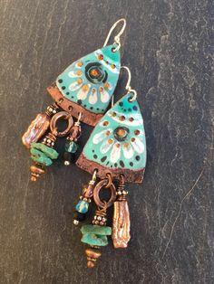 506f3dcc4 Medené Náušnice, Korálkové Naušnice, Korálkové Šperky, Náušnice, Keramika,  Remeslo, Práca