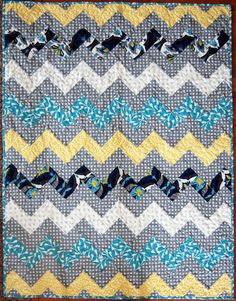One of the hottest trends in quilting this year is the classic chevron pattern, due to its modern style and easy strip piecing technique. If you& never made a chevron quilt before, get ready to learn in no time with this Zig Zag Chevron Throw Q Quilt Baby, Chevron Baby Quilts, Chevron Quilt Pattern, Jelly Roll Quilt Patterns, Baby Quilt Patterns, Quilting Patterns, Sewing Patterns, Block Patterns, Quilting Ideas