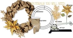 Here are the materials we used to create our Gold Burlap Wire Wreath Frame. Wire Wreath Frame, Burlap Wreath, Wreaths, Crafts, Diy, Gold, Decor, Do It Yourself, Dekoration
