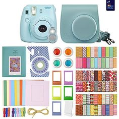 FujiFilm Instax Mini 8 Camera BLUE  MiniMate Accessory Bundle Kit includes Case Frames 64 page Photo Album Selfie Lens Colored Filters and more ** You can get additional details at the image link. (This is an affiliate link)