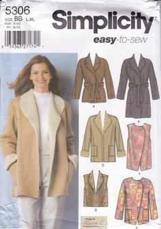 Misses/' Loose-fit Coat /& Jacket Built by Wendy Simplicity Sewing Pattern 3966