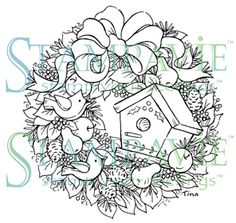 Wreath With Birdhouse (Christmas) - Clear Stamp   1 2 3 Stitch stamps         $6.89