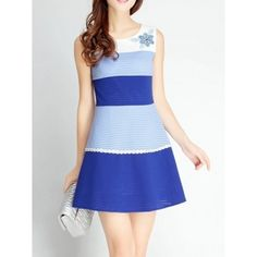 Patch Color Hollow Jacquard Sleeveless Slim Dress