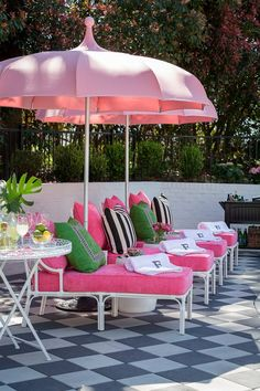 For a fun and funky deck or patio makeover, these Palm Beach chic outdoor decor ideas will have you spending your whole summer outdoors. Outdoor Rooms, Outdoor Gardens, Outdoor Living, Outdoor Decor, Pink Outdoor Furniture, Pool Patio Furniture, Beach Gardens, Palm Beach Decor, Beach Chic Decor
