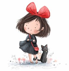 Kiki &Jiji 💌 little fan art doodle - characters from one of my favourite films 'Kiki's Delivery Service' ❤️ Art And Illustration, Character Illustration, Illustration Children, Cartoon Kunst, Cartoon Art, Girl Cartoon, Cute Cartoon, Art Doodle, Doodle Characters