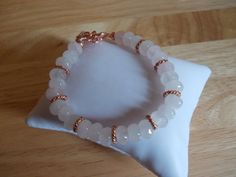 Rose quartz and copper spacer bracelet £7.50