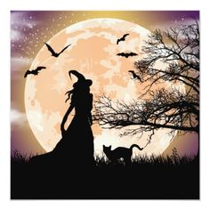 Witch Painting, Moon Painting, Halloween Painting, Halloween Stencils, Halloween Canvas, Moonlight Painting, Halloween Artwork, Autumn Painting, Halloween Patterns