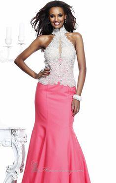 Keyhole Crepe Gown by Tarik Ediz, Shop it here: http://www.missesdressy.com/dresses/designers/tarik-ediz/92251 #keyhole #gown #crepe #beads #sparkling #fittef #coral #glamorous #MissesDressy #TarikEdiz