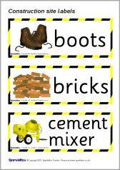 Construction Site role-play labels (SB670) - SparkleBox