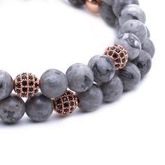 Rose Gold Diamond Balls & Grey Jasper Double Bead Bracelet. Shop online at www.AtolyeStone.com