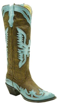 Ladies Brown/Turquoise Tall Eagle Overlay R2349 Discontinued