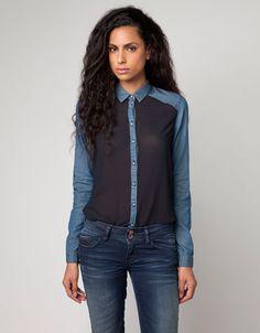 Bershka Slovenia - Bershka combined fabric shirt