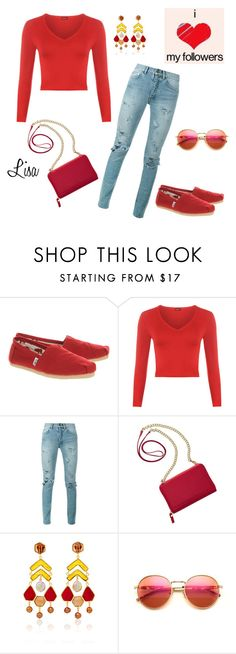 """""""Red means LOVE"""" by coolmommy44 ❤ liked on Polyvore featuring TOMS, WearAll, Yves Saint Laurent, TravelSmith, Wildfox and toms"""
