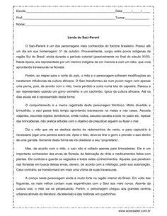 interpretação de texto a lenda do saci 4º ano