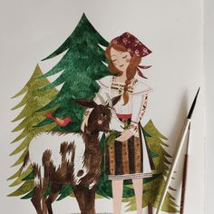 """Work in progress ~ a young Romanian girl and her goat. I shared a few more pictures on the blog, if you would like to take a peek. """