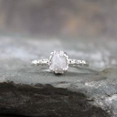 Raw Uncut Rough Diamond Solitaire and 925 Sterling Silver Filigree Ring-Antique Styled Engagement Ring-Gemstone -April Birthstone on Etsy, $295.00