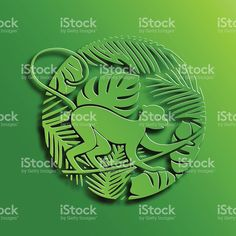 Green Circle Illustration of Monkey in Jungle royalty-free stock vector art