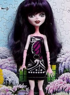 Purple Black White Butterfly Wing Dress Monster by CuteWeirdFluffy, $5.99