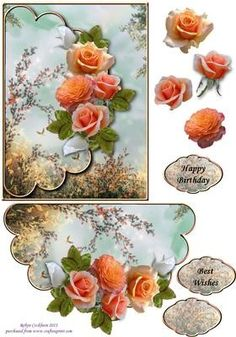 Apricot Roses Scallop Envelope Card Front on Craftsuprint designed by Robyn…
