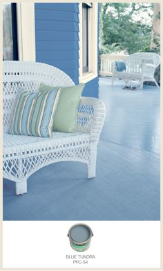 If you're looking for more ways to add interest to your room or porch, consider a painted floor. It is an easy project and the results are stunning! Outdoor Sofa, Outdoor Spaces, Outdoor Living, Outdoor Decor, Behr Colors, Paint Colours, Fresco, Porch Flooring, Painted Floors