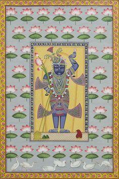 Traditional Folk Sharad With Lotus – Artisera Peacock Painting, Cow Painting, Music Painting, Silk Painting, Pichwai Paintings, Spiritual Paintings, Krishna Painting, Indian Folk Art, Hindu Art