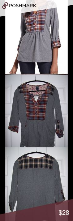 Anthropologie 1.9 One Sept Plaid Placket Top Tee Adorable NWT top by 1.9 / One September from Anthropologie! 3/4 sleeves, hidden pockets at hip. 100% Cotton. Anthropologie Tops Tees - Long Sleeve