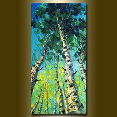 CUSTOM Modern Birch Tree Art Seasons Original por willsonart
