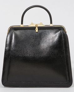 Judith Leiber Vintage Black Karung Snakeskin Satchel - classic shapes in fashion I love (for when I start the salad sisters fashion label) Luggage Accessories, Handbag Accessories, Vintage Handbags, Vintage Bags, Book Purse, Unique Purses, Judith Leiber, Little Bag, Luxury Bags