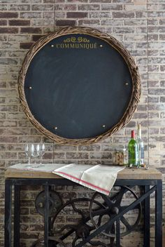 French Country Chalkboard - antique drying basket framed chalkboard - https://secondchanceart.net/product/french-country-chalkboard-antique-basket-chalkboard/
