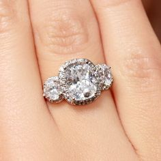 3 Ct Solitaire Anniversary Cushion-Cut CZ Ring Sterling Silver 5 6 7 8 9 Vtg #AntiqueAnniversaryRing #SolitairewithAccents