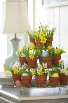 Cup cake stands can be put to good use to feature other types of goodies! This arrangement of spring flowers and eggs is delightful and would make a super Easter table centrepiece.
