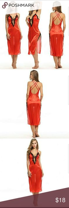 💖Sexy Red Gown Lingerie Set 💖Valentine's Day Red silky material soft with trimmed in black lace. It has a open back . It is cut to hide imperfections and give you a beautiful silhouette it flows down to your calf length. Very pretty looks very classy  and sexy. It's made of polyester, spandex and lace.  I would go a size up they do tend to run small. Spice it up with this cute gown.Each one is brand new in plastic from factory.  Beautifully made. Intimates & Sleepwear