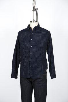 Engineered Garments - Navy Polka Dot Tab Collar Shirt from Gramercy York