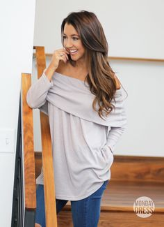 Carry Me Top in Heather Grey | Monday Dress Boutique