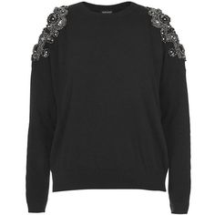 Women's Topshop Embellished Cold Shoulder Sweater ($87) ❤ liked on Polyvore featuring tops, sweaters, jumpers, shirts, cold shoulder tops, embellished sweater, open shoulder sweater, cut-out shoulder tops and sparkly shirts
