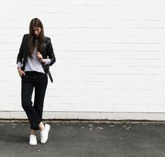 A pair of #white #sneakers are always easy to combine.  More on WONCE - http://wonce.co/home/2016/8/13/casual-and-straightforward #design #fashion #brand #quality #sandro #denim #vince #leatherjacket #creativity #photography