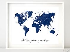 "Navy printable world map, distressed vintage texture map print, navy nursery deep blue wall art, oh the places you'll go 10x8"" 20x16"" map133 on Etsy, $4.90"