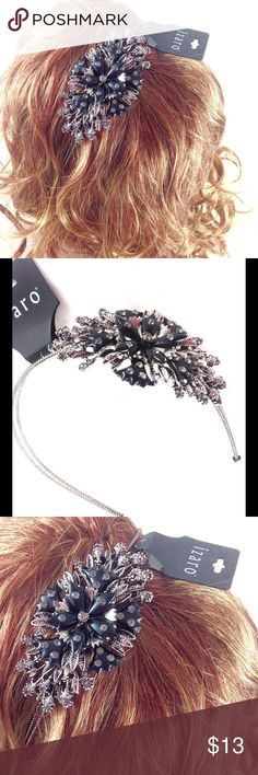Izaro Black & Silver Rhinestone Floral Headband Brand new with tags! NWT. Izaro silver and black metal headband with detailed ornate flower design with gorgeous rhinestones.  Stunning!   🔹Please ask all questions before you purchase! I'm happy to help! 🔹No trades or holds, but I happily consider offers via the Offer Button! 🔹Bundle for best prices. Use bundle button feature or ask for custom bundle! izaro Accessories Hair Accessories