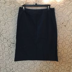 J. Crew Navy Pencil Skirt Cute simple staple skirt, perfect condition. 24 inches long, 30 inch waist. J. Crew Skirts Pencil